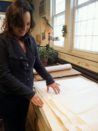 christine aaron, printmaker, encaustic, usuyou gampi paper