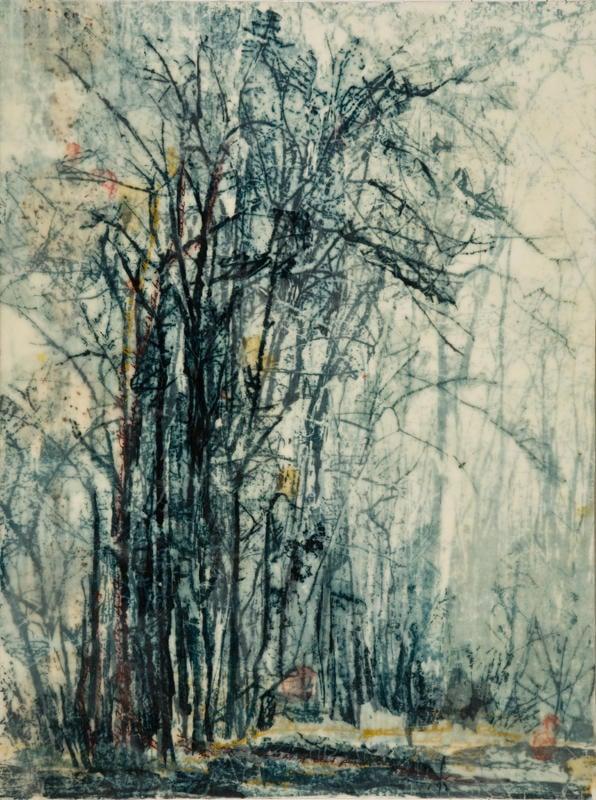 christine aaron, printmaker, encaustic, usuyou gampi paper,Tree Muse II